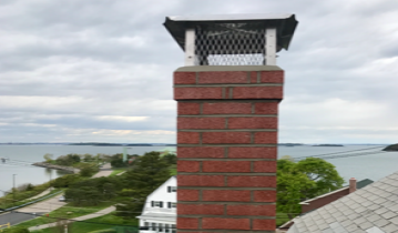 a capped chimney overlooking Nantasket beach