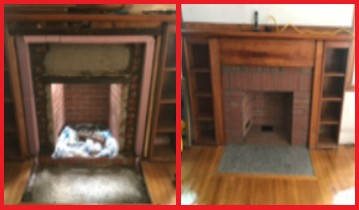 masonry repair on a fireplace before and after picture