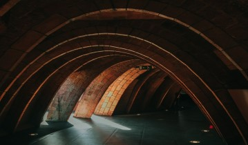 brick masonry featured on multiple parabolic arches in close proximity