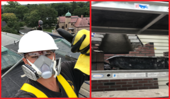 a split image featuring Dan DeSousa in protective gear on the left and a chimney undergoing repointing on the right