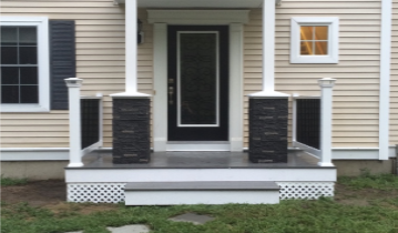 Stone Veneer siding on the base of two pillars of a porch