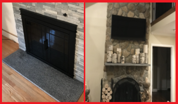 interior stone veneer on two different fireplaces